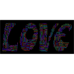 Retro Love Typography Word Cloud Variation 2