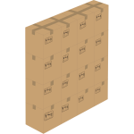 Vector illustration of 16 closed boxes stacked up 4x4