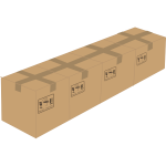 Vector drawing of 4 sealed cardboard boxes next to each other