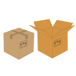 Vector clip art of sealed and open cardboard boxes