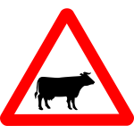 Vector image of cattle on road roadsign