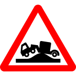 Road sign in triangle