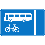 Bus and bicycle lane information traffic sign vector image