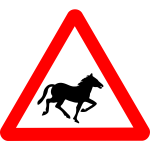 Horse on road vector warning sign