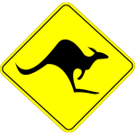 Kangaroo on road caution sign vector graphics