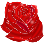 Illustration of blooming rich red rose