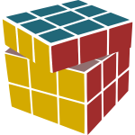 Vector graphics of Rubik's Revenge with a tilted side