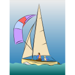 Color sailing boat vector drawing