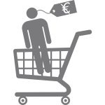 Clip art of man in a shopping cart