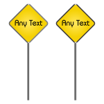 Vector graphics of two blank yellow roadsigns