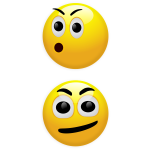 Vector illustration of OMG and confused smilies
