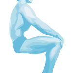 Vector image of sitting bodybuilder man