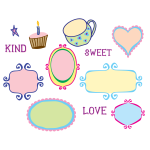 Vector image of kitschy frames selection