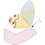 Butterfly on a fingertip vector drawing