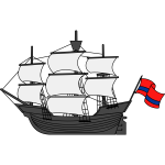 Ship and flag
