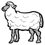 Vector clip art of line art of simple sheep
