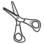 Small scissors line art vector illustration