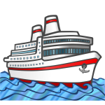 Vector graphics of color large cruise ship