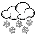 Clip art of think line art snowy cloud