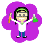 Vector image of cartoon science girl