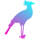 Image of colored secretary bird silhouette