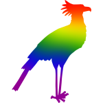 Secretary Bird Rainbow Colors