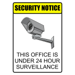24hr surveillance security warning label vector illustration