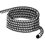 Black and white lineart vector illustration of rope