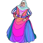 Old woman in colorful dress