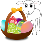 Lamb with Easter eggs in a basket vector graphics