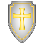Shiny religious cross shield vector image