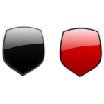 Black and red shields vector drawing