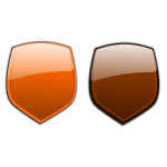 Orange and brown shields vector clip art
