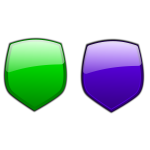 Green and blue shiny shields vector image