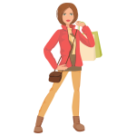 Shopping girl cartoon image