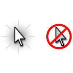 Vector graphics of show or hide mouse cursor icons
