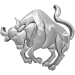 Taurus horoscope sign silver color