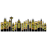 Vector image of high rise landmarks