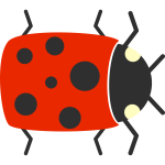 Vector graphics of cartoon ladybug closeup