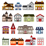 Vector image of set of colorful houses