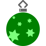 Green stars on Christmas ball