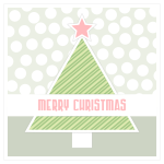 Red and green Christmas tree greeting card vector clip art