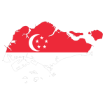 Singapore Map Flag With Stroke