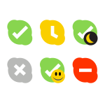 Vector drawing of flat Skype status icons