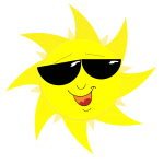 Smiling sun with sunglasses vector drawing