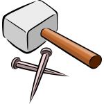 Hammer and nails vector drawing
