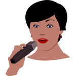 Vector illustration of woman with microphone
