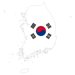 South Korea Map Flag With Stroke