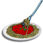Vector image of spaghetti on a plate with fork