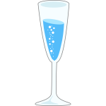 Flute glass of mineral water vector illustration